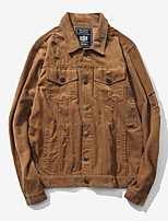 Men's Casual/Daily Vintage Jackets,Solid Shirt Collar Long Sleeve Fall Brown Cotton Medium