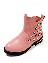 Girl's Boots Fall / Winter Comfort PU Dress / Casual Flat Heel Bowknot / Others Black / Pink / Red Walking