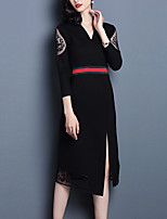 Women's Plus Size / Going out Street chic Sheath Dress,Patchwork V Neck Midi Long Sleeve Black Polyester Fall / Winter Mid Rise
