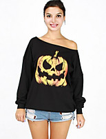 Women's Casual/Daily Simple Long HoodiesPrint Black Round Neck Long Sleeve Cotton / Rayon Fall / Winter Medium Inelastic