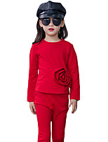 Girl's Casual/Daily Solid Clothing SetCotton Spring / Fall Black / Red
