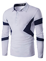 Men's Casual/Daily Simple Spring / Fall T-shirtSolid / Patchwork Round Neck Long Sleeve Blue / White Cotton Medium