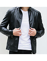 Men's Casual/Daily Simple Jackets,Solid Stand Long Sleeve Fall Black / Brown Goatskin Medium