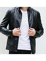Мужчины На каждый день Однотонный Куртка Воротник-стойка,Простое Осень Черный / Коричневый Длинный рукав,Козлиная кожа,Средняя