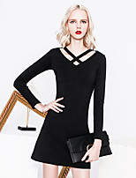 MASKED QUEEN Women's Going out Simple Little Black DressSolid V Neck Above Knee Long Sleeve Black