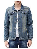 Vestes en Jean Hommes,Couleur Pleine Décontracté / Quotidien simple Manches Longues Col de Chemise Bleu Coton Moyen Printemps / Automne