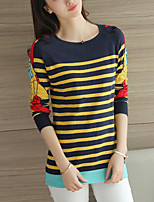 Women's Casual/Daily Cute Regular Pullover,Striped Blue Round Neck Long Sleeve Polyester Fall / Winter Medium Micro-elastic
