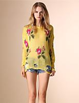 AOKNI Women's Round Neck Long Sleeve T Shirt Purple / Yellow-3005