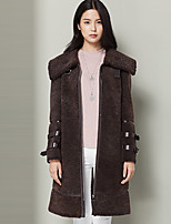 Xuebao Women's Casual/Daily Simple Fur CoatSolid Cowl Long Sleeve Winter Brown Others Thick