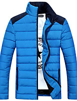 Пальто Простое Длинная На подкладке Мужчины,Однотонный На каждый день Полиэстер Хлопок,Длинный рукав Синий / Красный / Белый / Черный