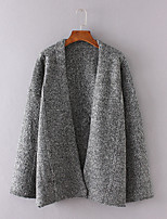Women's Casual/Daily Simple Regular Cardigan,Solid Brown Gray V Neck Long Sleeve Cotton Fall Medium Micro-elastic