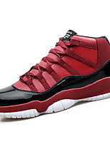 Men's Athletic Shoes Spring Comfort PU Athletic Flat Heel Lace-up Black / Black and Red / Black and White Basketball