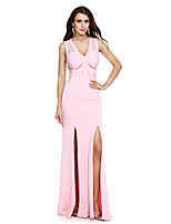 TS Couture® Formal Evening Dress Sheath / Column V-neck Floor-length Jersey with Lace / Sash / Ribbon / Split Front