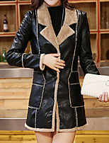 Women's Going out Street chic Leather Jackets,Solid / Patchwork Notch Lapel Long Sleeve Fall / Winter Brown / Gray Polyester Medium