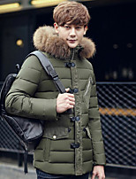 Men's Regular Down Coat,Simple Casual/Daily Solid-Polyester White Duck Down Long Sleeve Stand Blue / Brown / Green