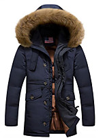 Men's Regular Padded Coat,Simple Casual/Daily Solid-Polyester White Goose Down Long Sleeve Hooded Blue