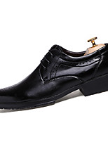Men's Oxfords Fall Comfort Leather Casual Party & Evening Flat Heel Lace-up Black Burgundy Walking