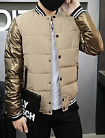 Men's Padded Coat,Simple Casual/Daily Solid-Polyester Polyester Long Sleeve Round Neck Yellow