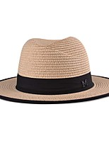 Men And Women Summer Casual Ribbon Decoration Flat Top Outdoor Sun Straw Hat