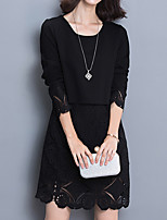 Women's Plus Size / Going out / Casual/Daily Street chic Loose / Shift / Lace DressSolid / Patchwork  Long Sleeve