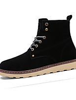Men's Boots Fall Winter Comfort PU Casual Flat Heel Lace-up Black Yellow