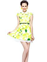 Feminino Bainha Vestido,Happy-Hour / Tamanhos Grandes Simples / Moda de Rua Floral Decote Quadrado Acima do Joelho Manga Curta Verde
