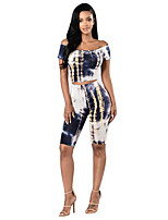 Women's Casual/Daily / Sports Sexy / Vintage Backless Slim Suits Spring / Fall Set PantPrint Boat Neck Short Sleeve