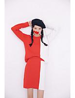 Set Jupe Costumes Femme,Mosaïque Décontracté / Quotidien simple Hiver Manches Longues Col Arrondi Rouge / Noir / Gris Autres Moyen