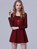 Женский На каждый день / Большие размеры Уличный стиль Оболочка Платье Пэчворк,V-образный вырез Выше колена Длинный рукав Красный / Черный