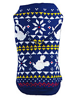 Cat / Dog Sweater / Hoodie Red / Blue Dog Clothes Winter / Spring/Fall Snowflake Christmas / New Year's