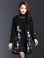 AINIER Women's Casual/Daily Simple CoatEmbroidered Round Neck Long Sleeve Spring / Fall Black Cotton / Polyester Thin