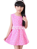 Girl's Casual/Daily Solid Dress,Cotton / Polyester Summer Blue / Pink / Red