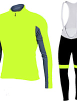 FLUO Yellow Cycling Jersey with Bib Tights Men's Long Sleeve Bike Breathable / Quick Dry / Anatomic Design / Front Zipper / 3D coolmax gel pad