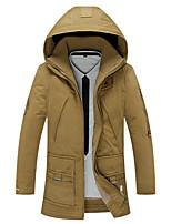 Пальто Простое Длинная На подкладке Мужчины,Однотонный На каждый день / Большие размеры Хлопок / Полиэстер Хлопок,Длинный рукав Капюшон