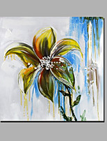 Hand-Painted Abstract Floral/Botanical Square,Modern One Panel Canvas Oil Painting For Home Decoration