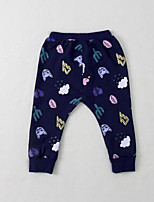 Baby Casual/Daily Print Pants,Cotton Fall Blue / Gray