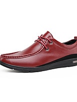 Men's Flats Spring / Fall Comfort PU Casual Flat Heel Others / Lace-up Black / Burgundy Others