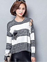 Women's Going out / Casual/Daily Sexy / Cute Short Cardigan,Solid / Striped White / Gray Round Neck Long Sleeve Cotton Fall Medium