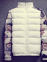 Men's Regular Padded Coat,Simple Casual/Daily Floral-Polyester Cotton Long Sleeve White