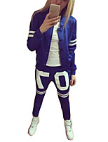 Women's Sports Vintage All Seasons Set Pant Suits,Color Block Round Neck Long Sleeve Blue Polyester Medium