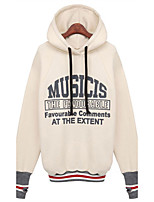 Women's Casual/Daily Simple Regular HoodiesLetter Red / White Hooded Long Sleeve Polyester All Seasons Medium
