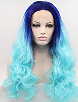 Sylvia Synthetic Lace front Wig Blue Hair Ombre Hair Heat Resistant Long Natural Wave Synthetic Wigs