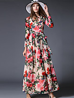 Women's Plus Size / Casual/ Street chic Sheath DressFloral Round Neck Maxi  Sleeve Red Polyester Spring / Fall Mid Rise