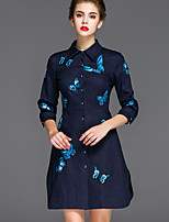 Mary Yan & Yu Women's Casual/Daily Chinoiserie A Line DressEmbroidered Shirt Collar Above Knee  Sleeve Blue Cotton / Others Fall Mid Rise Inelastic