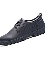 Черный / Коричневый-Мужской-Для прогулок / На каждый день-Кожа-На плоской подошве-Удобная обувь-Туфли на шнуровке