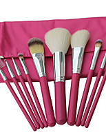 10 Makeup Brushes Set Goat Hair Professional / Portable Wood Handle Face/Eye/Lip Pink