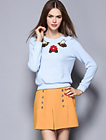 Women's Going out Street chic Skirt Suits,Embroidered Round Neck Long Sleeve Blue Polyester
