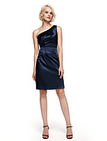 Lanting Bride® Knee-length Stretch Satin Bridesmaid Dress - Elegant Sheath / Column One Shoulder with Side Draping