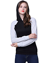 Women's Casual/Daily Simple / Active Regular Popular HoodiesColor Block Black Hooded Long Sleeve  Medium Micro-elastic