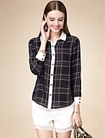 DOF Women's Casual/Daily Simple Fall ShirtPlaid Shirt Collar Long Sleeve Black Cotton Medium
